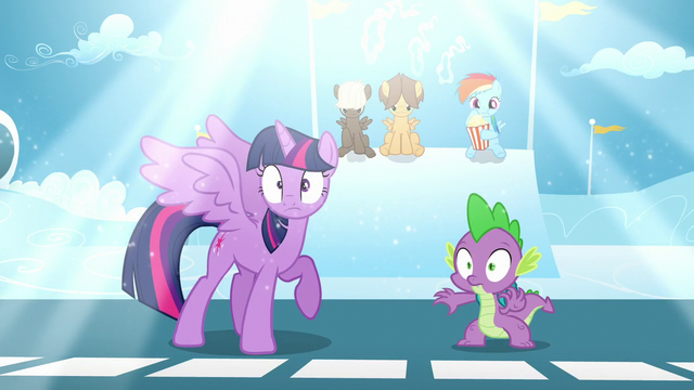 File:A bright light shines above Twilight and Spike S5E26.png