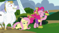 Pinkie Pie cheering with Fluttershy on the floor S4E10.png