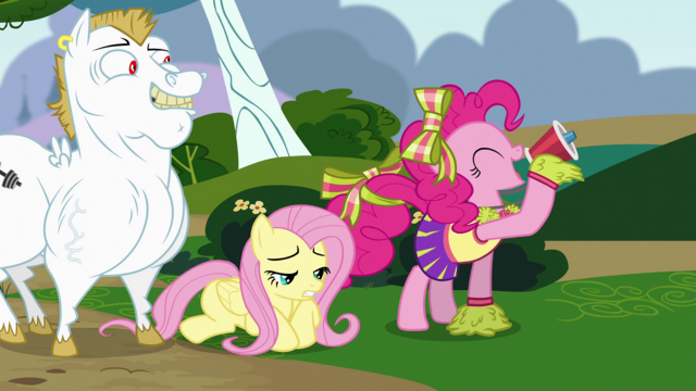 File:Pinkie Pie cheering with Fluttershy on the floor S4E10.png