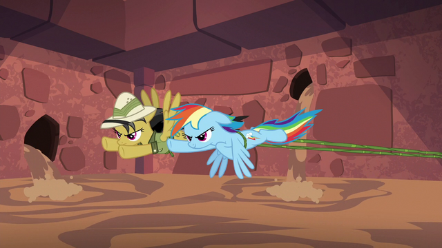 File:Rainbow and Daring flying and pulling vine S6E13.png