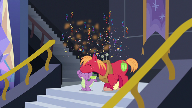 File:Basketball bursts into confetti over Spike and Big Mac S6E17.png