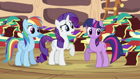 Twilight Rainbow Dash and Rarity together S2E21