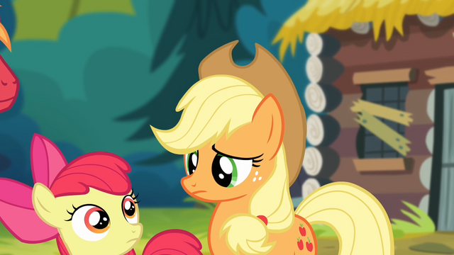 File:Applejack and Apple Bloom looking at each other S4E09.png