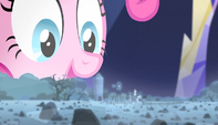 Pinkie looks at hologram of rock farm S5E1