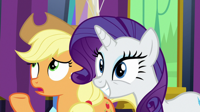 """File:AJ says """"not exactly"""" while Rarity nods her head S7E1.png"""