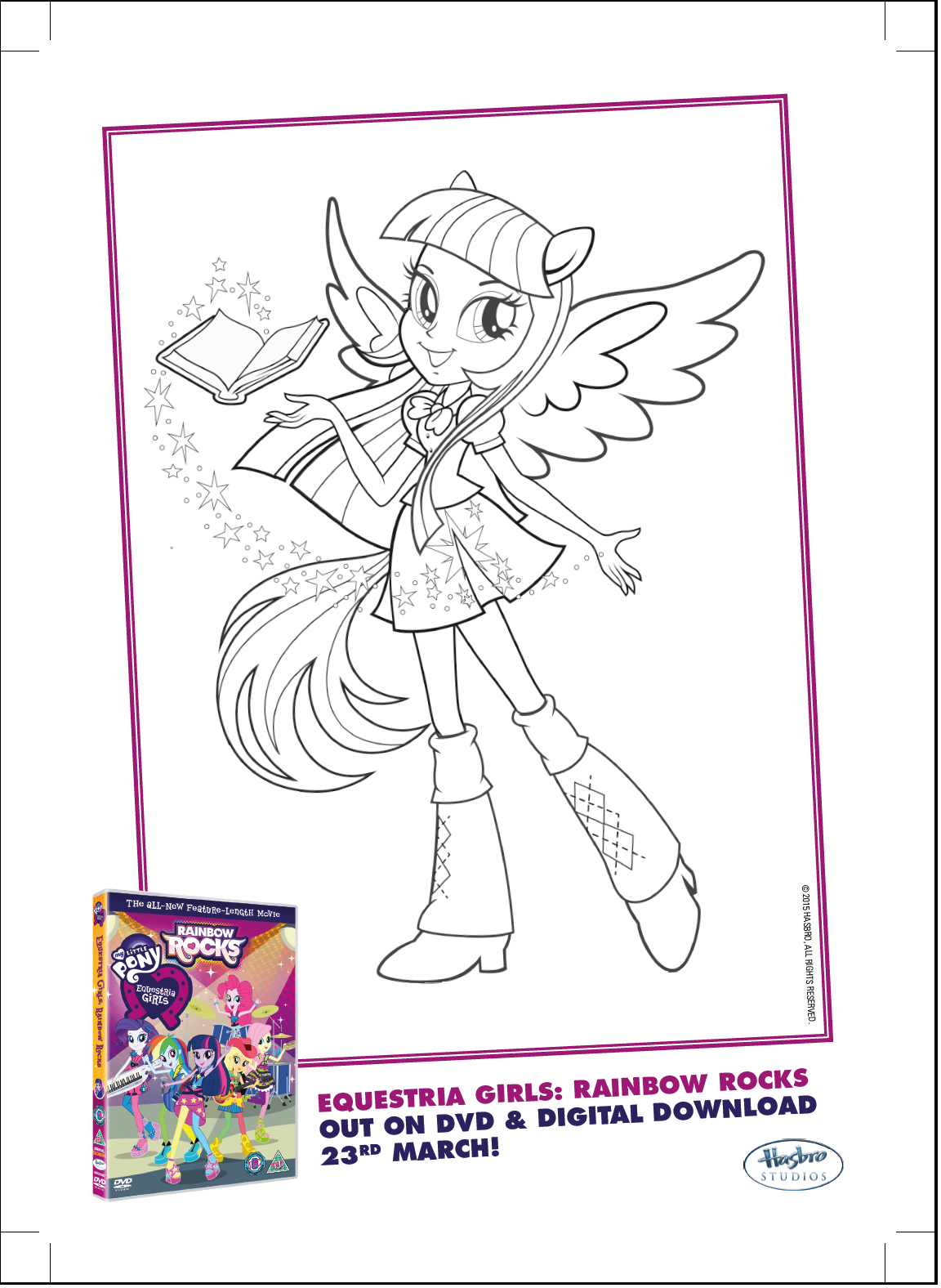 Image Twilight Sparkle Rainbow Rocks coloring pagepng My