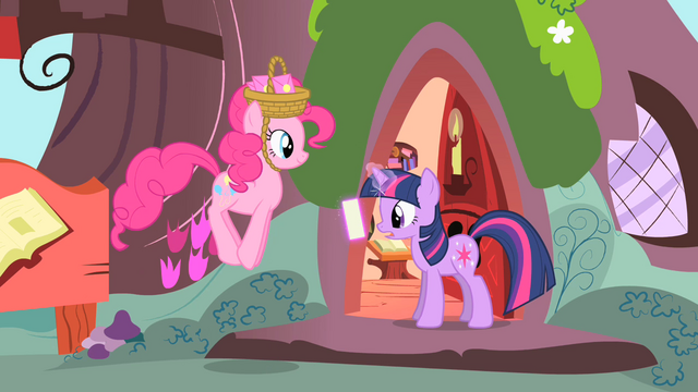File:Twilight reading letter and Pinkie jumping S1E25.png