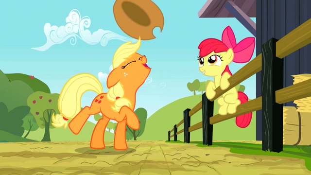File:Applejack flipping her hat up S2E14.png