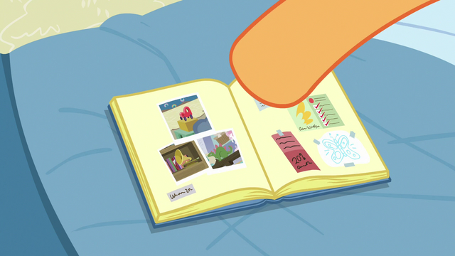 File:Scootaloo pastes pictures of Rainbow's room in her scrapbook S7E7.png