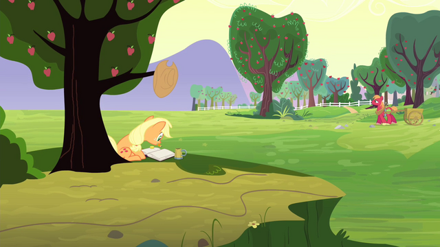 File:Applejack writing on a journal S4E20.png