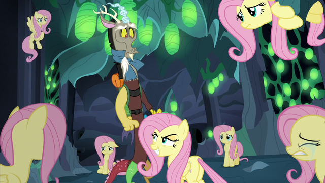 File:Discord surrounded by Fluttershy Changelings S6E26.png