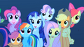 Main 5 ponies and CMC are watching the meteor shower S01E24.png
