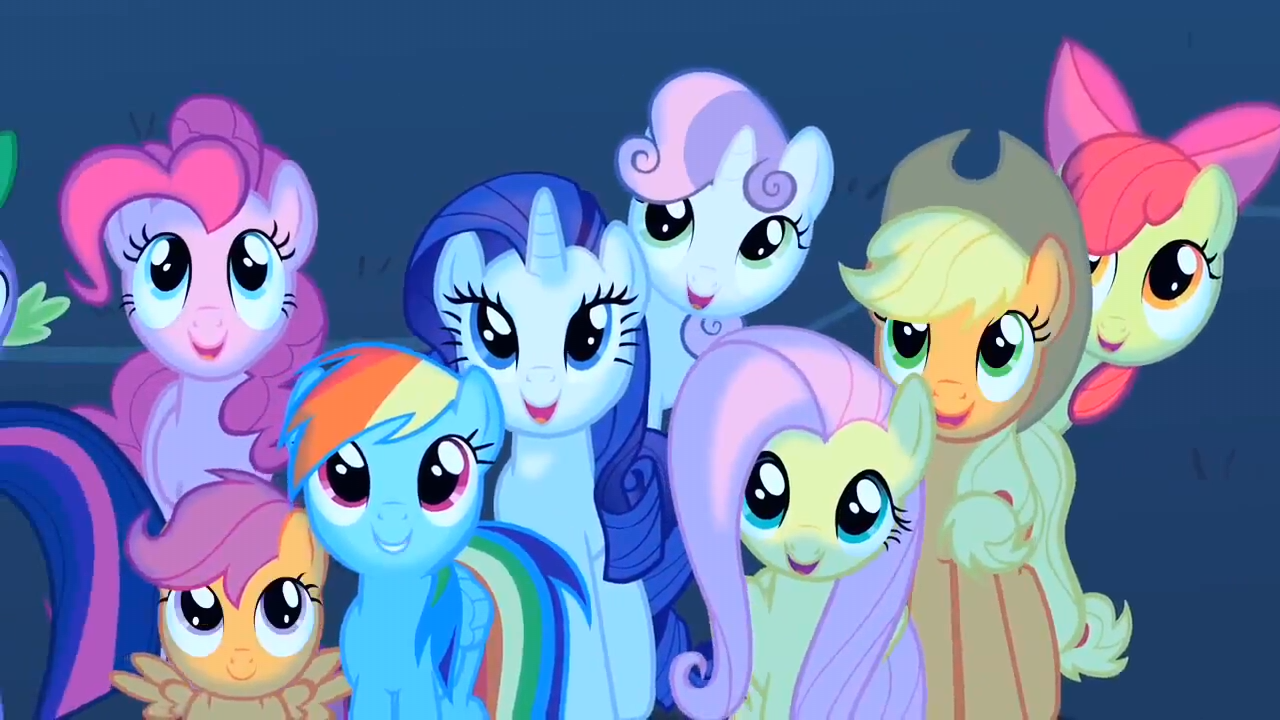 image main 5 ponies and cmc are watching the meteor shower my little pony. Black Bedroom Furniture Sets. Home Design Ideas
