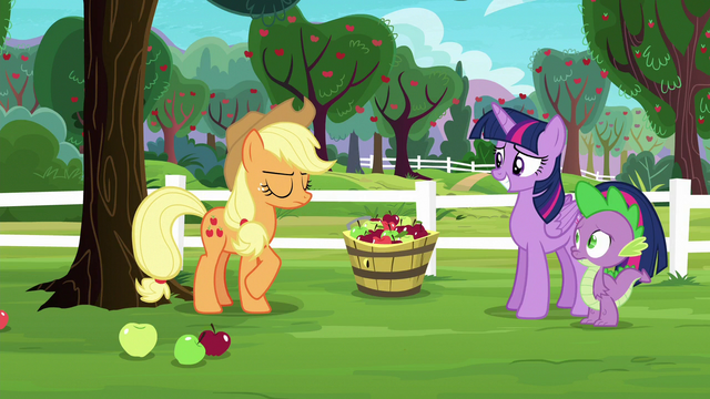 File:Applejack telling her side of the story S6E22.png