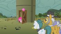 Pinkie Pie at the silo door S1E23