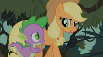 Spike and Applejack discussing possibilities about Fluttershy's fate S01E15