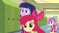 Apple Bloom and Sweetie Belle in hallway EG.png