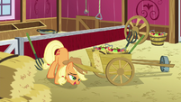 Applejack closing a wheelbarrow S5E03