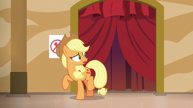 File:Applejack hears a commotion backstage S6E20.png