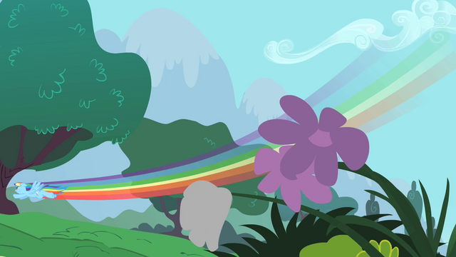 File:Rainbow Dash flying by some flowers S1E16.png