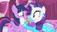 Rarity holds Twilight's face S4E13