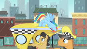 Taxi passenger pointing at the line of ponies S4E08