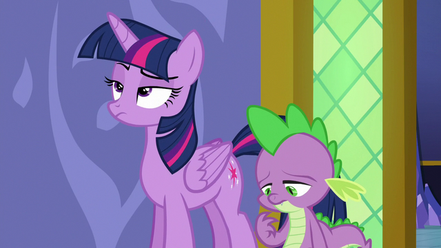 File:Twilight Sparkle rolls her eyes at Spike S6E22.png