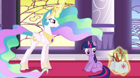 Celestia levitating the quills and papers back into Twilight's bags S3E01