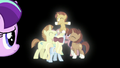 Filly Starlight looks at ponies surrounding Sunburst S5E26.png