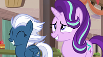 Starlight Glimmer and Night Glider smiling S6E26