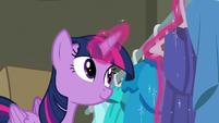 Twilight Sparkle hanging a blue dress S6E9