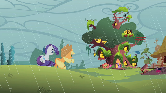 File:Applejack and Rarity look at the library S1E08.png