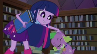 Twilight scratches Spike's head EG