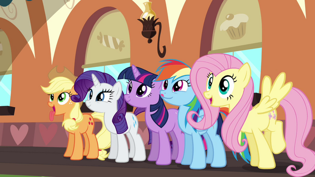 File:Applejack, Rarity, Twilight, Rainbow and Fluttershy looking forward to the MMM S2E24.png