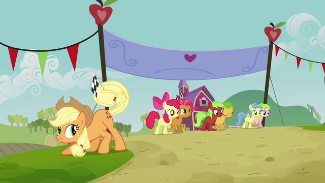 File:Applejack with a flag S3E08.png