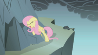 Fluttershy clings to a rock S1E07