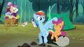 Rainbow Dash messing with Scootaloo's mane S3E6.png
