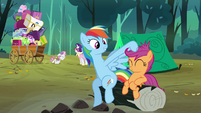 Rainbow Dash messing with Scootaloo's mane S3E6