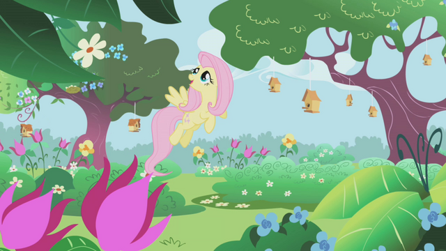 File:Fluttershy in the castle gardens S1E3.png