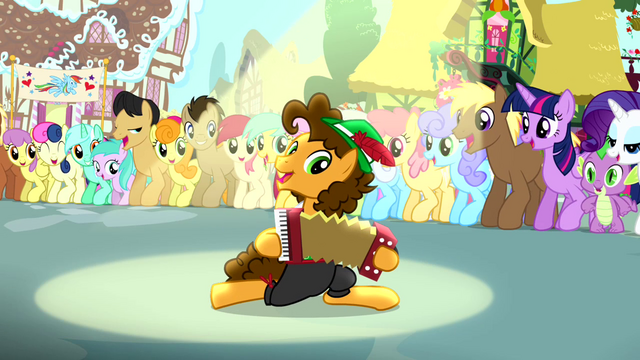 File:Cheese playing accordion while other ponies watch S4E12.png