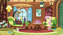 Discord telling Fluttershy a funny story S5E7