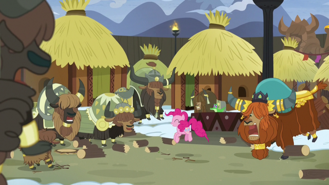 File:Pinkie, Rutherford, and yaks stomping vigorously S7E11.png