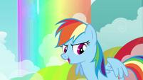 Rainbow Dash in front of rainbow S3E6