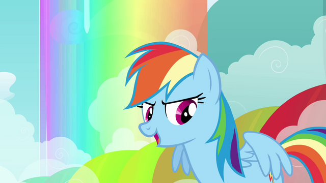 File:Rainbow Dash in front of rainbow S3E6.png