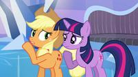 Applejack whispering to Twilight S03E12