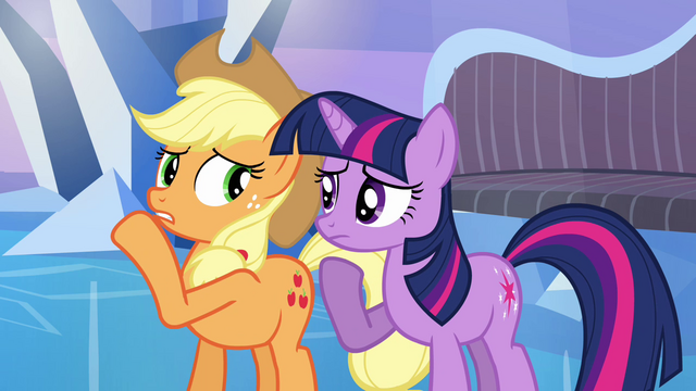 File:Applejack whispering to Twilight S03E12.png