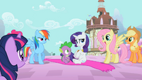 Fluttershy ecstatic that she and Rainbow Dash actually saved their friends S02E10