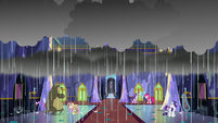 Rain pours down on the castle foyer S6E21