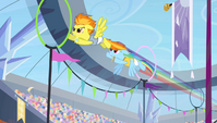 Rainbow and Spitfire flying through rings S4E24