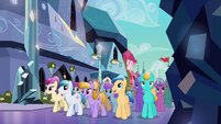 Crystal Ponies walking to the Faire S3E01